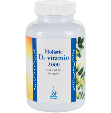 D-vitamin 2000 IE 180 kapslar, familjeburk från Holistic