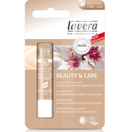 Lipbalm Beauty and Care Nude, ekologiskt läppbalsam, Lavera